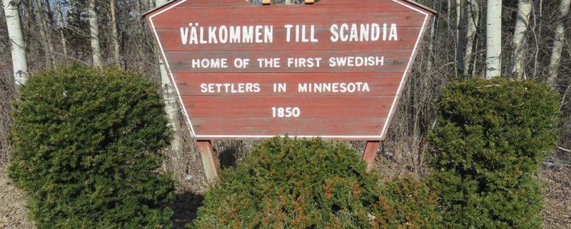 Welcome sign in Scandia